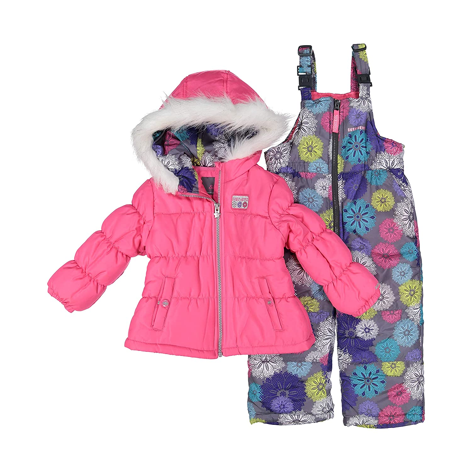 ccb85f95a333 Amazon.com  Skechers Girl s 2-Piece Insulated Puffer Bib Snowsuit ...