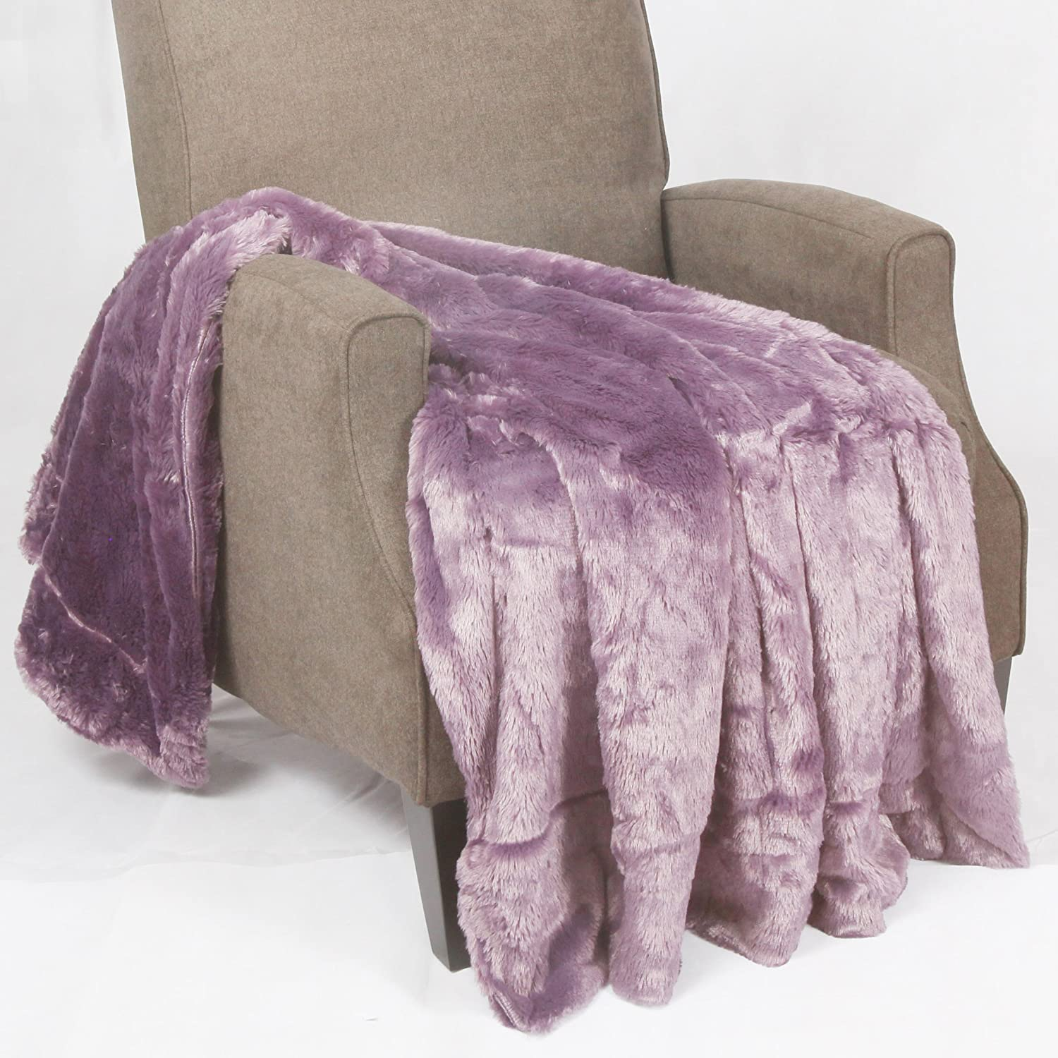 amazoncom boon double sided faux fur bedcouch throw blanket   - amazoncom boon double sided faux fur bedcouch throw blanket  x dusty purple home  kitchen