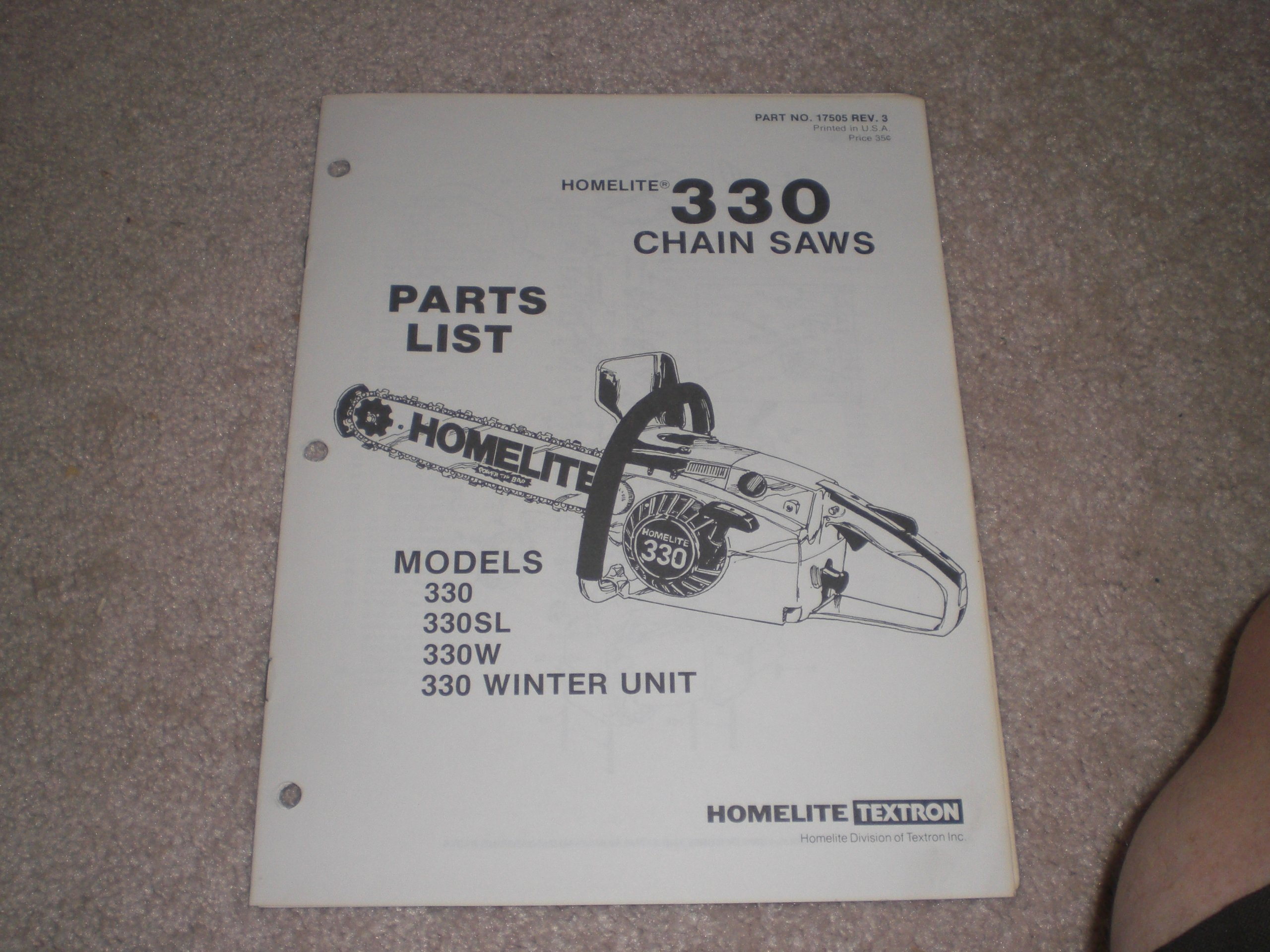 Homelite 330 Chain Saws Parts List Illustrated: homelite
