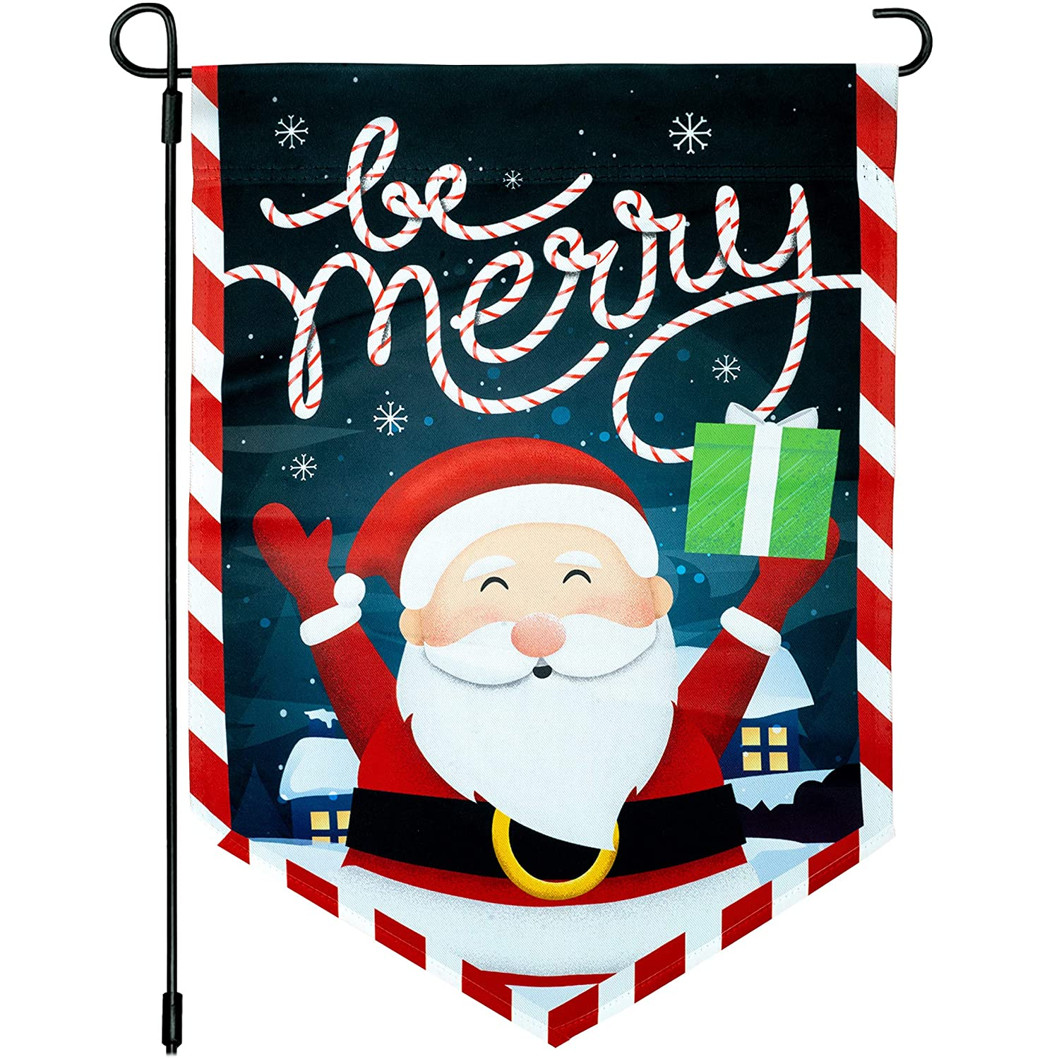 Joyousa Christmas Garden Flag - 12x18 Christmas Flag Outdoor - Weather Resistant - Artist Rendered Xmas Christmas Garden Flags Double Sided - Winter Yard Decorations Holiday Banners Outdoor