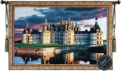 Beautiful Medieval Castle Fine Tapestry Jacquard Woven Wall Hanging Art Decor