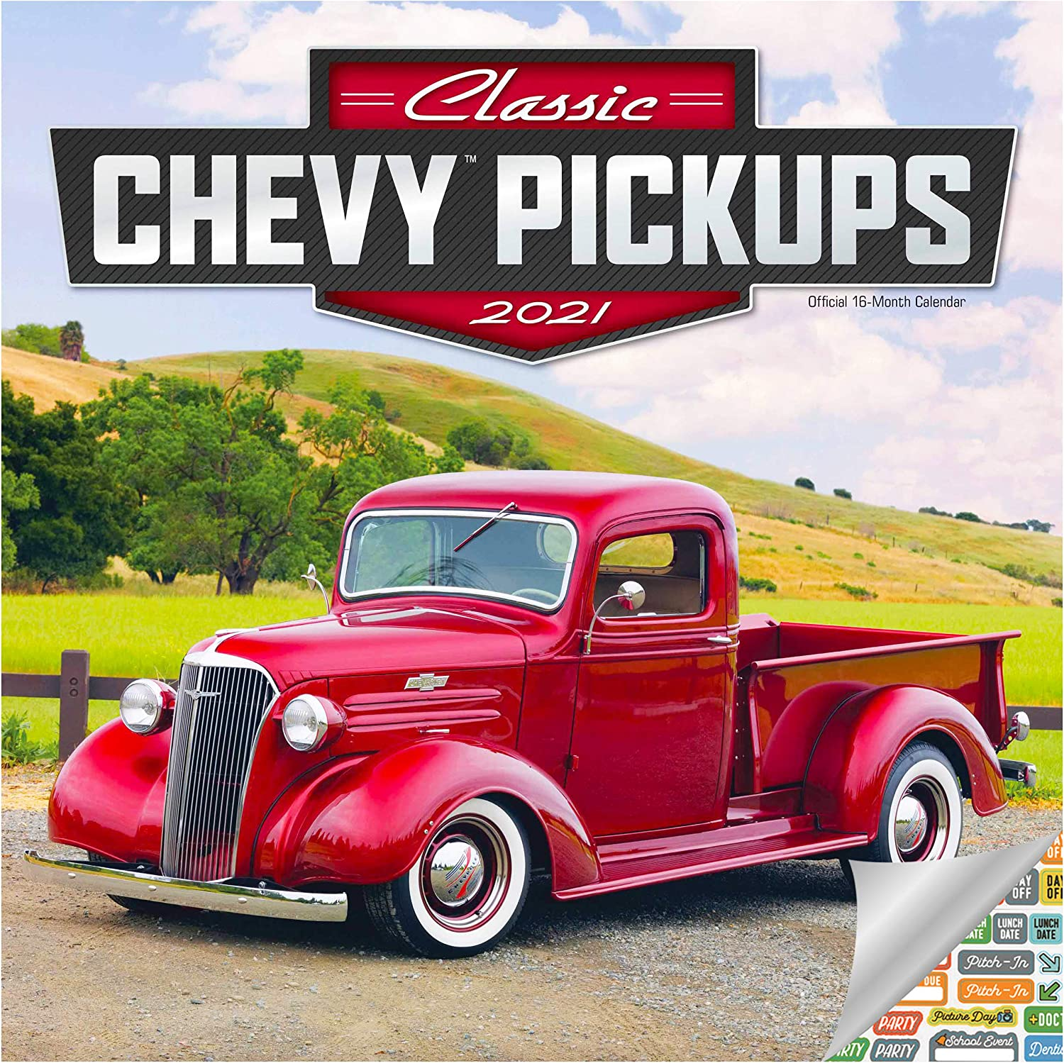 Classic Chevy Pickups Calendar 2021 Bundle - Deluxe 2021 Chevrolet Trucks Wall Calendar with Over 100 Calendar Stickers (Classic Trucks Gifts, Office Supplies)