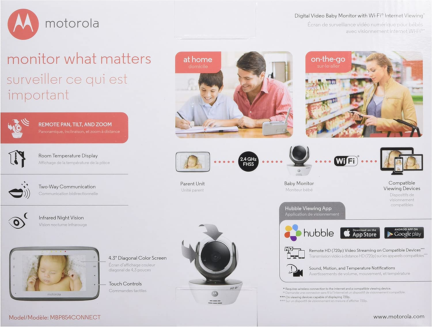 Motorola MBP854CONNECT Dual Mode Baby Monitor with 4.3-Inch LCD Parent Monitor and Wi-Fi Internet Viewing
