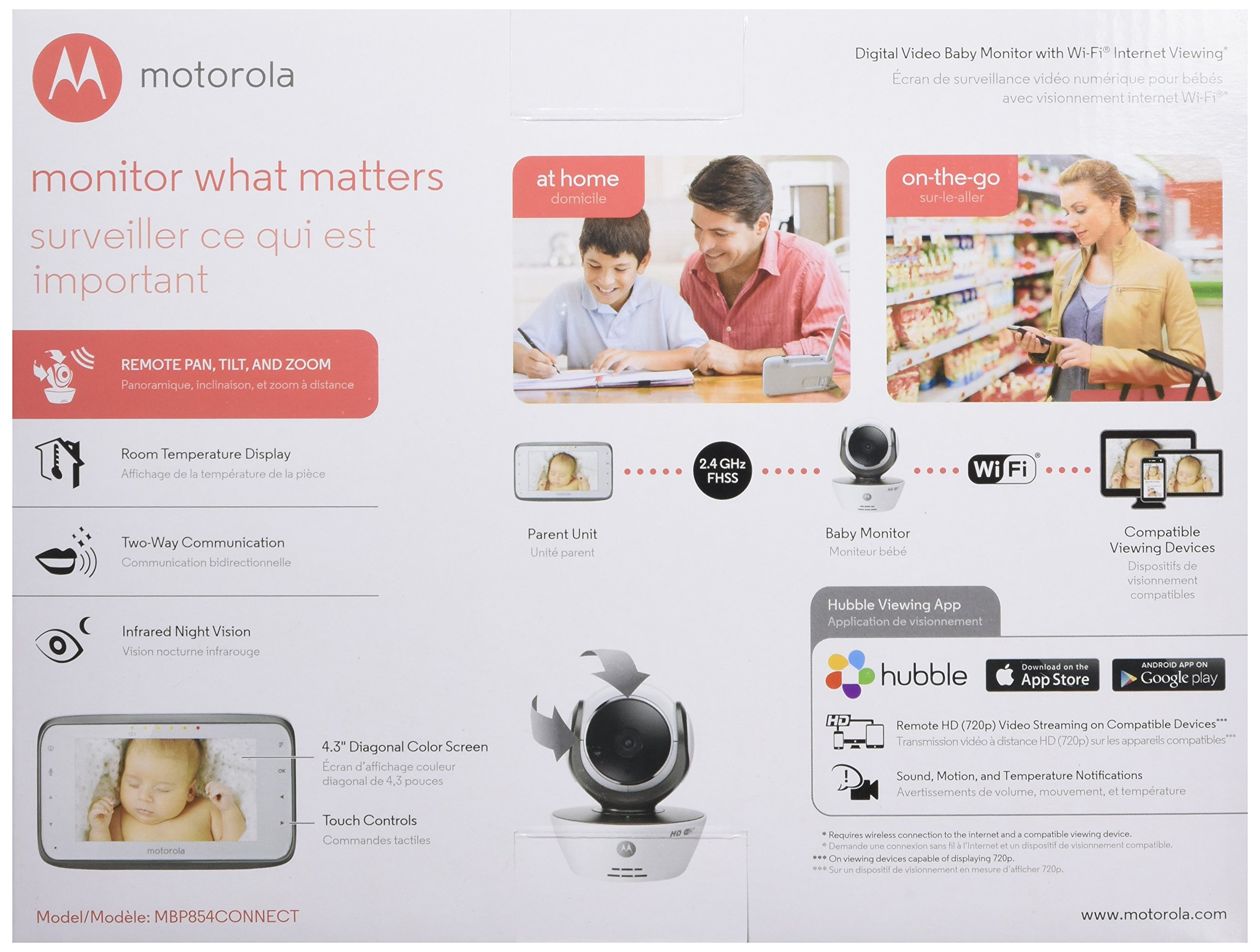 Motorola MBP854CONNECT Dual Mode Baby Monitor 4.3-Inch LCD WiFi Internet Viewing