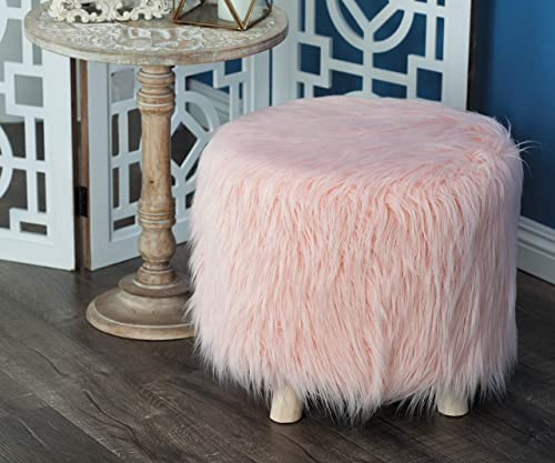 Deco 79 Wood And Faux Fur Foot Stool 19 W, 16 H, brown pink