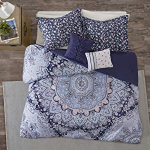 Intelligent Design Odette 4 Pieces Boho Printed Solid Microfiber Comforter Set Bedding, Twin/Twin XL, Blue