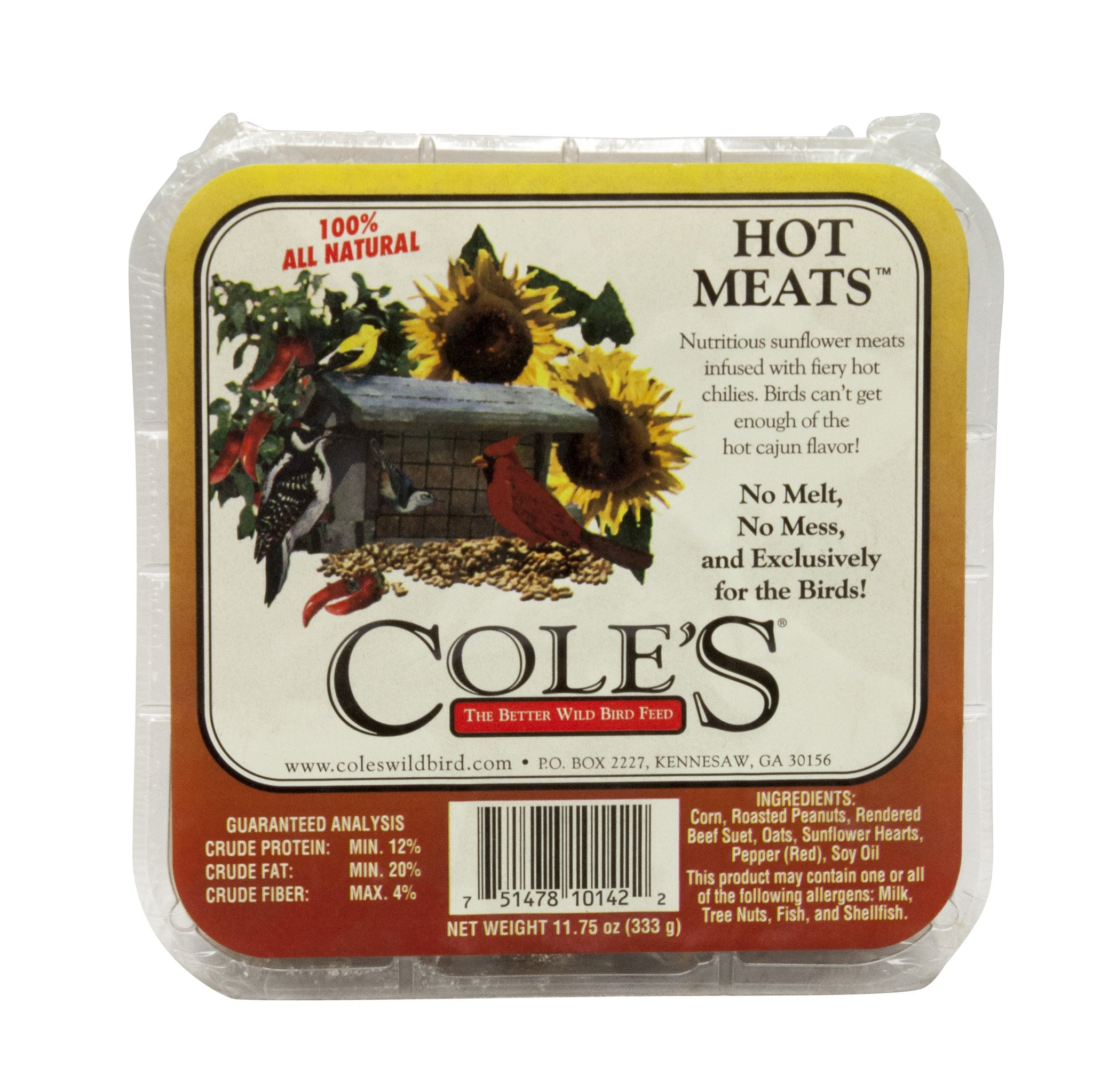 COLES WILD BIRD PRODUCTS INC 751478101422 Coles Wild Bird Products Hmsu 11.75 Ounce Hot Meats Suet-Quantity 12 by COLES WILD BIRD PRODUCTS INC