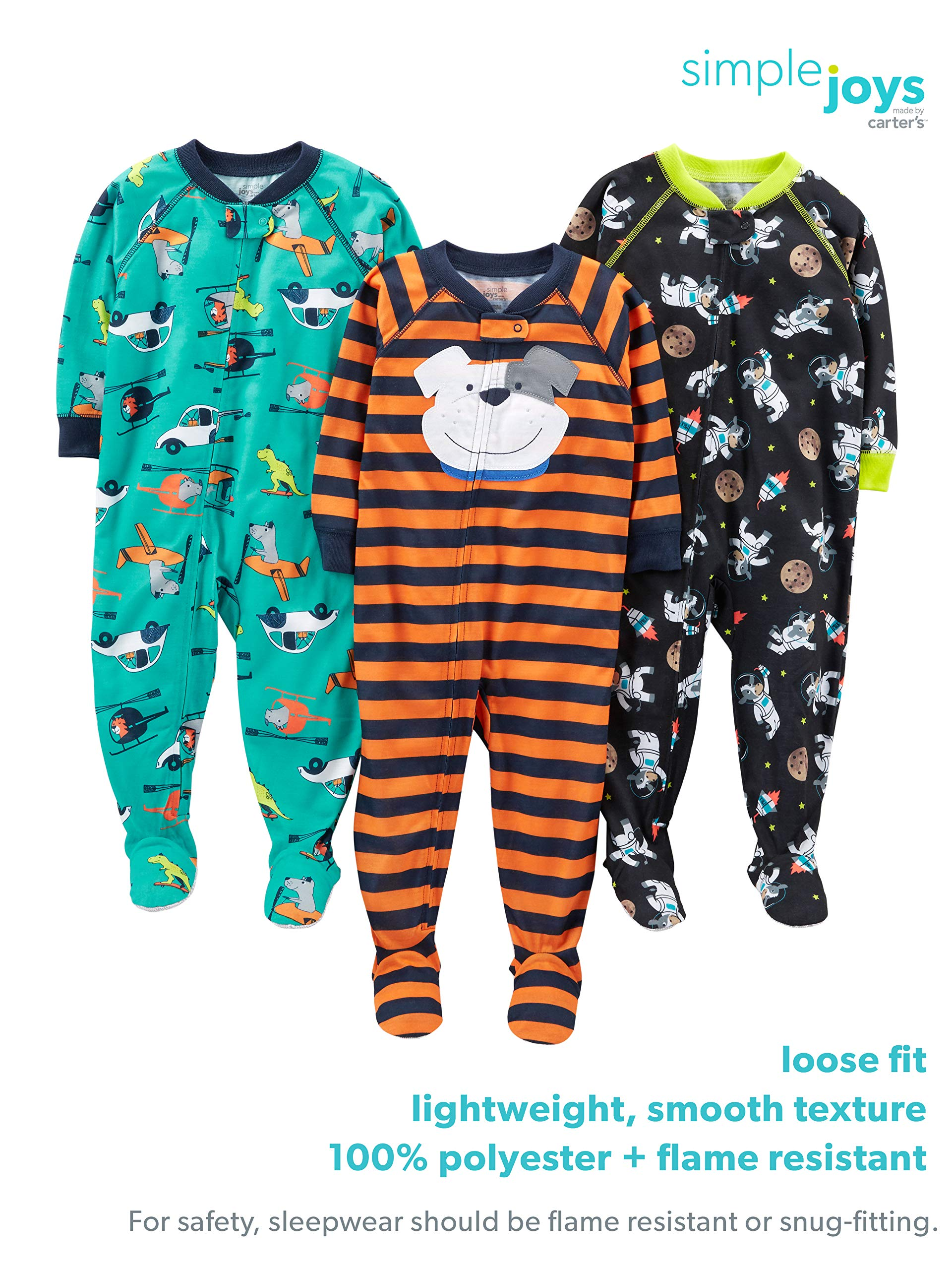 Simple Joys by Carter's Boys' 3-Pack Loose Fit Flame Resistant Polyester Jersey Footed Pajamas, Food/Trucks/Alligator 18 Months by Simple Joys by Carter's (Image #2)