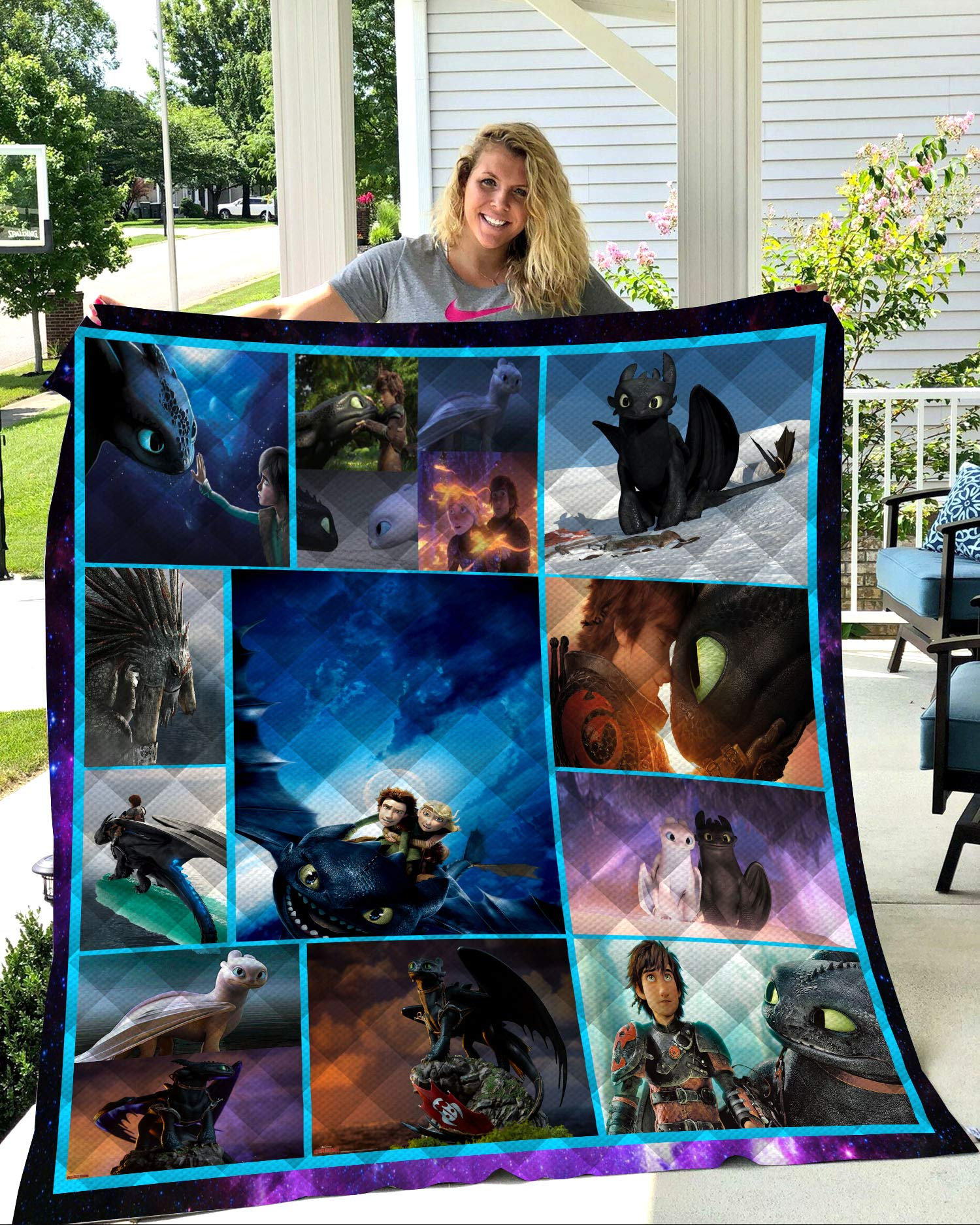 Summer 3D How to Train Your Dragon Quilt Blanket for Kids Adult Bedding Throw Warm Thin Blanket Cotton Quilt Queen King Size (Style 1,200cm230cm) by OWHO