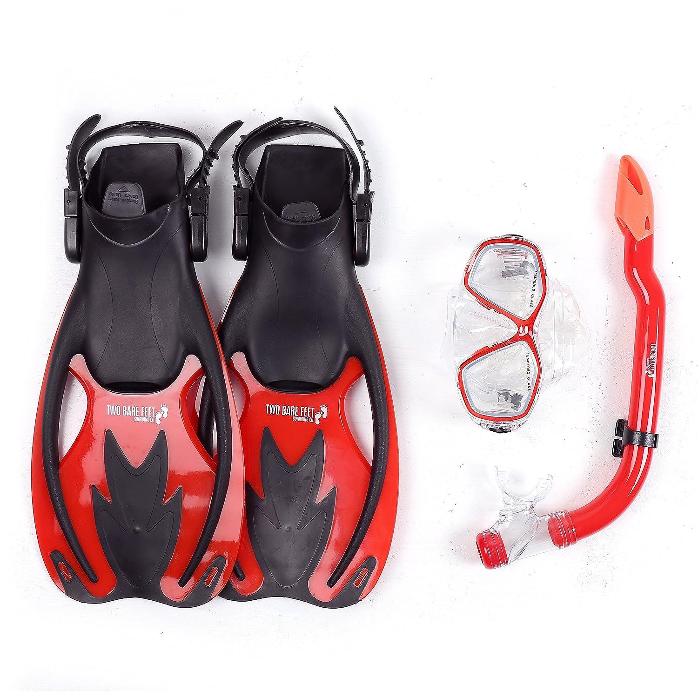 0677f035c0f Two Bare Feet Mask, Snorkel & Fins/Flippers PVC Diving Set (Kids) - Scuba Dive  Snorkelling Sets: Amazon.co.uk: Sports & Outdoors