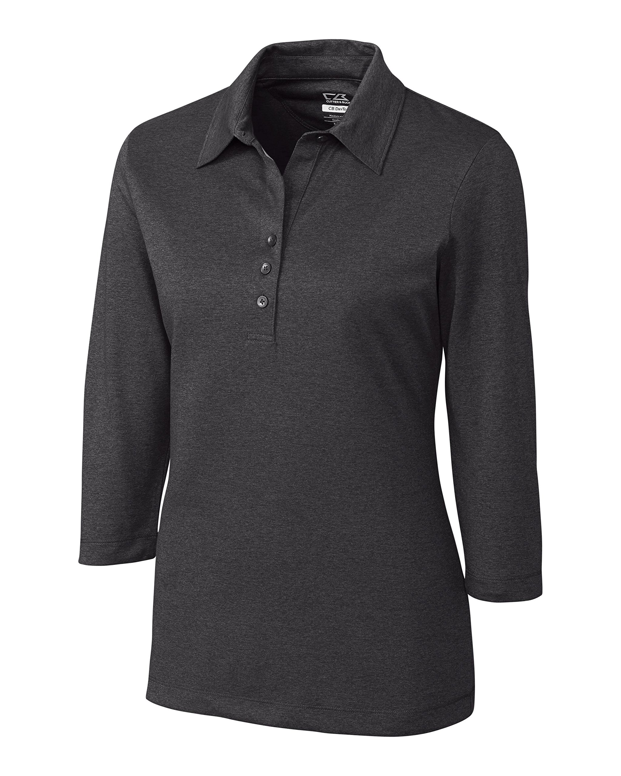 Cutter & Buck Women's CB Drytec 3/4 Sleeve Chelan Polo, Charcoal Heather X-Small