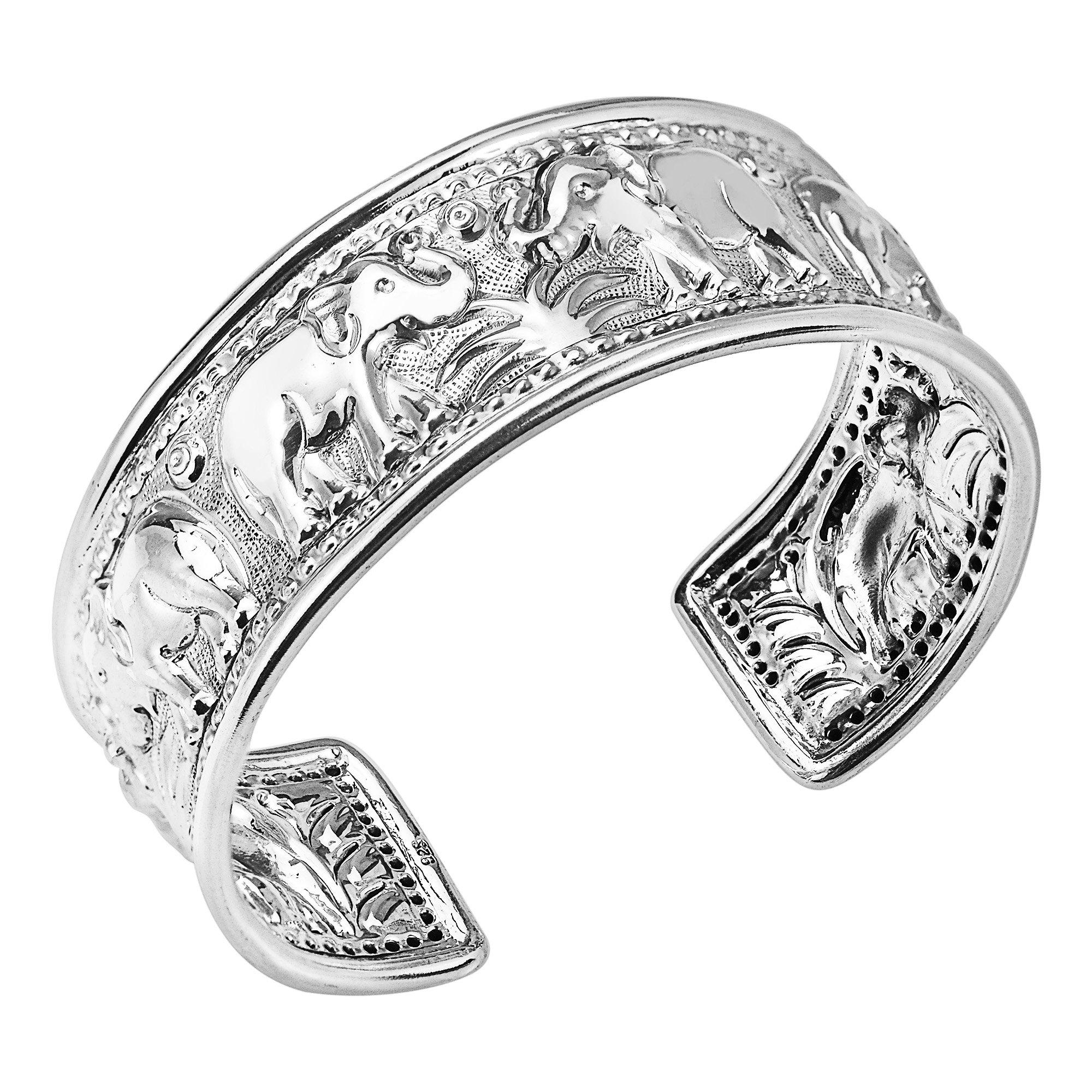 Elephant Jungle Trek Thai Yao Hill Tribe Fine Silver Adjustable Cuff Bracelet by AeraVida (Image #3)