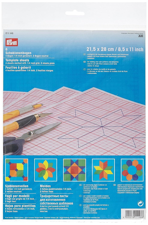 Prym 21.5 x 28 cm Stencil/Template Sheets Gridded/Plain, Transparent PRYM_611148-1