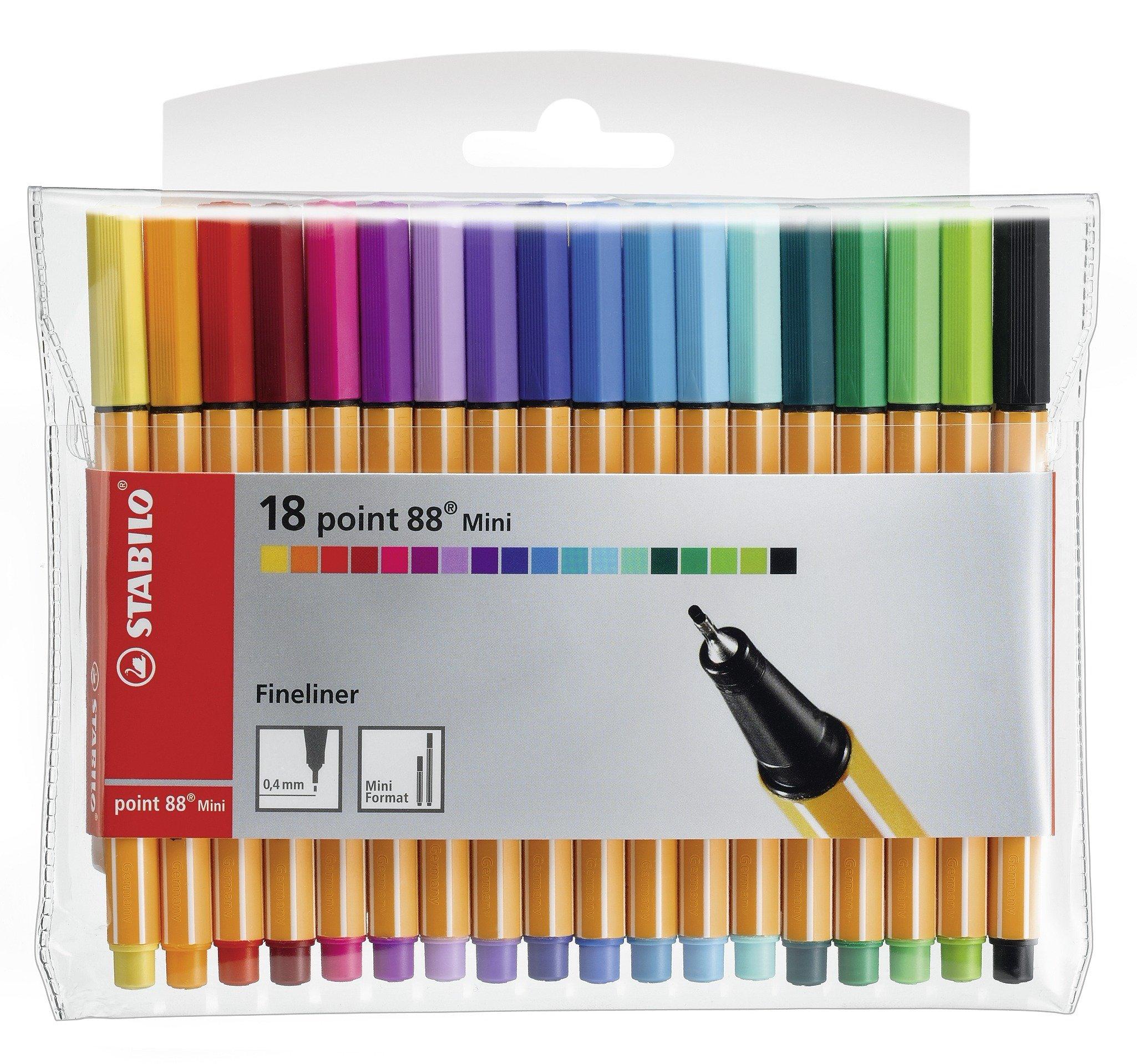 STABILO Point 88 Mini Fineliner Pens, 0.4 mm - 18-Color Wallet Set by STABILO