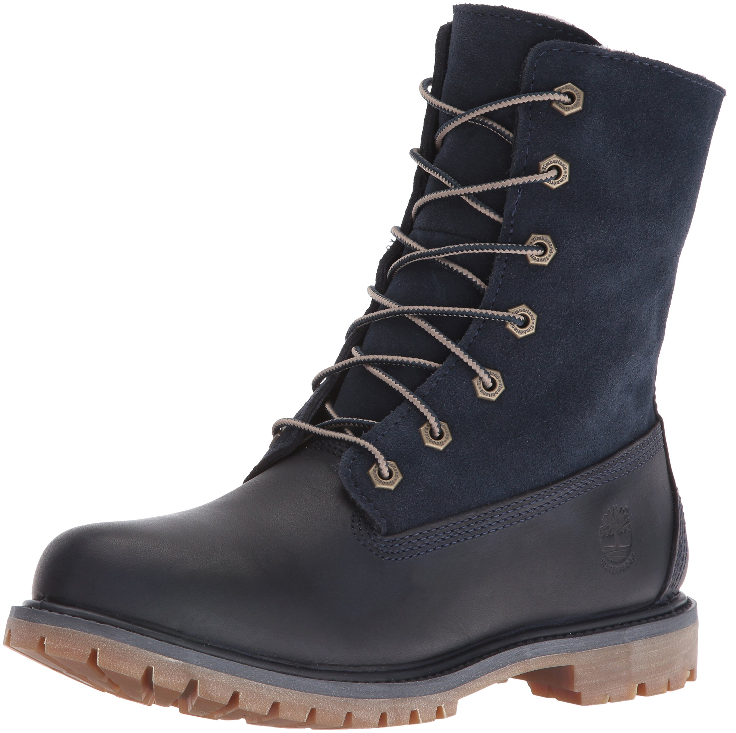 Timberland Women's Authentics Teddy Fleece WP Fold-Down Boot, Dark blue, 7.5 M US