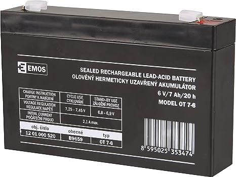 Emos B9659 Wartungsfreier Bleiakku Bleiakkumulator Für Alarmsysteme Brandmeldetechnik Kinderfahrzeuge Usv Geräte 6v 7 Ah 6 V Baumarkt