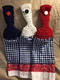 Free shipping to USA included - set of 3 CROCHET KITCHEN hand TOWEL LIGHT terry cloth - Americana 4th of July towels - Red, White & Blue acrylic yarn top