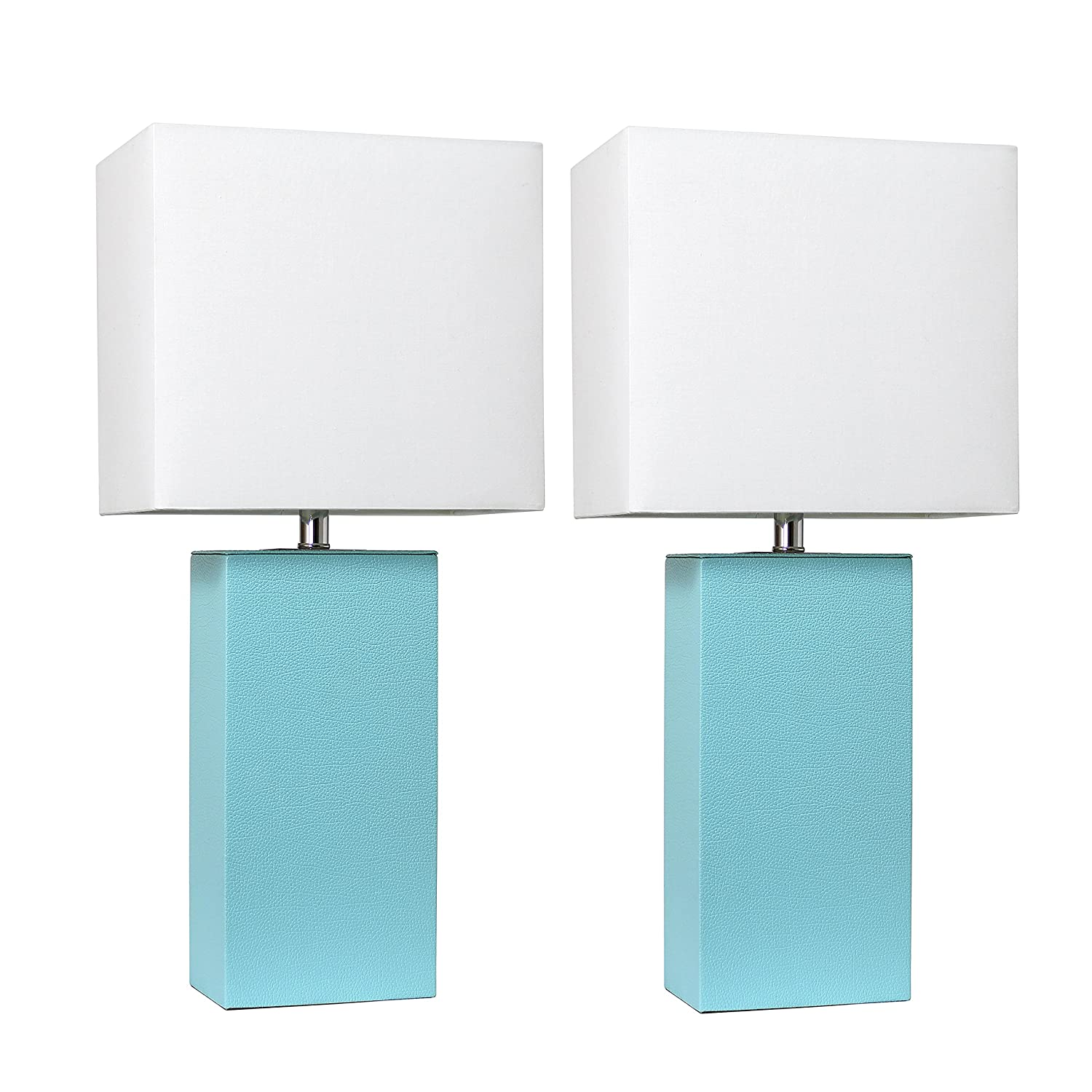 Elegant Designs LC2000-AQU-2PK 2 Pack Modern Leather Table Lamps with White Fabric Shades, Aqua