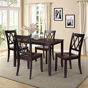 Amazon Com Harper Bright Designs 5 Piece Wood Dining Table Set For 4 Person Home Kitchen Table And Chairs Cherry Black Table Chair Sets