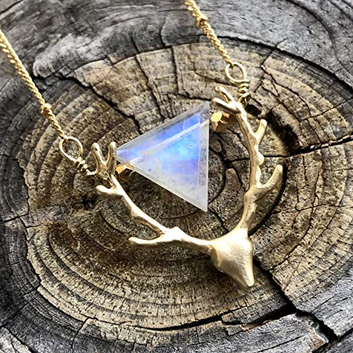 Dainty Moonstone wire wrapped gold pendant necklace for women crystal bithstone necklace gift for her