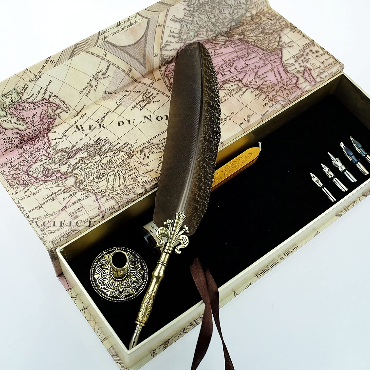 gc quill antique feather quill pen set with golden