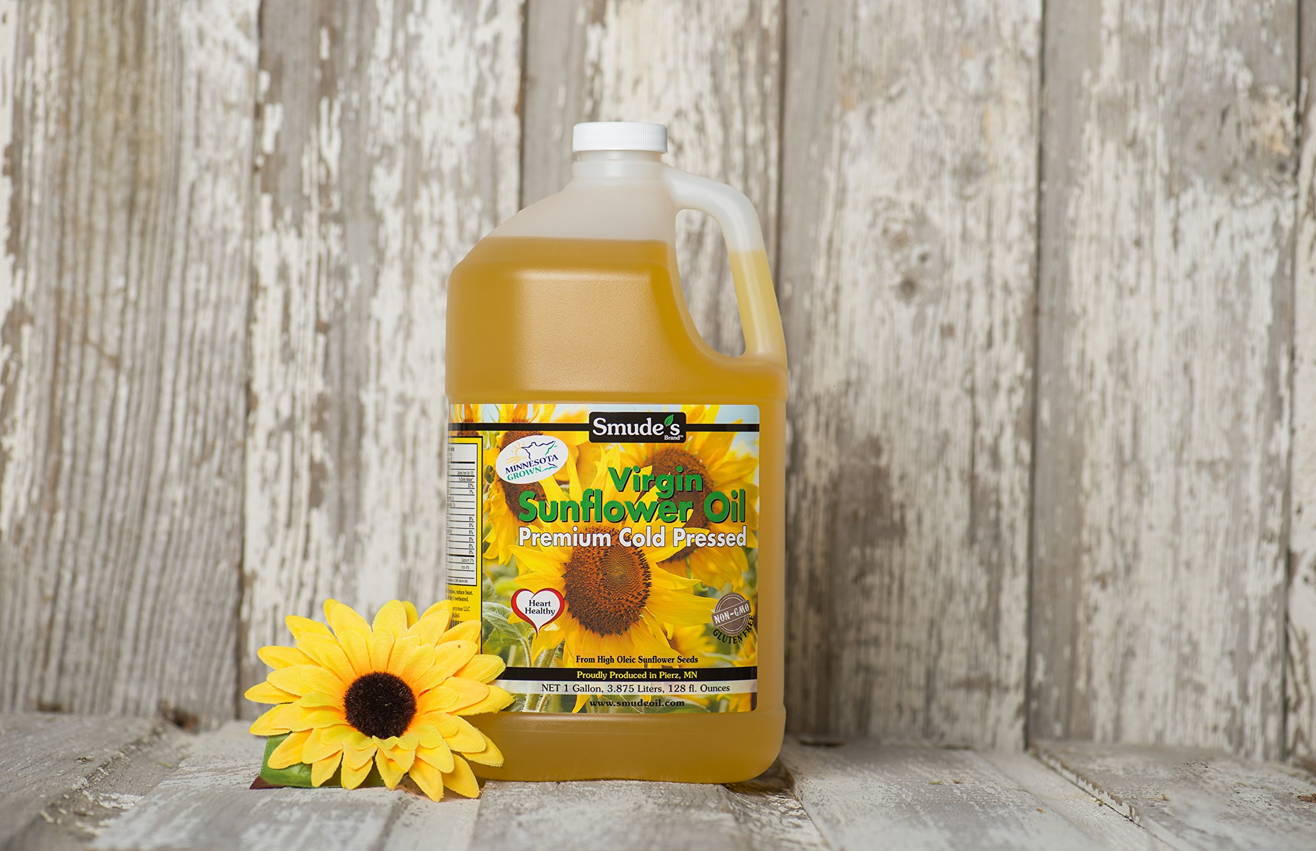 Smude Sunflower Oil 1 Gallon Plastic [Cold Pressed, All Natural, NonGMO Cooking Oil] by Smude's Sunflower Oil (Image #1)