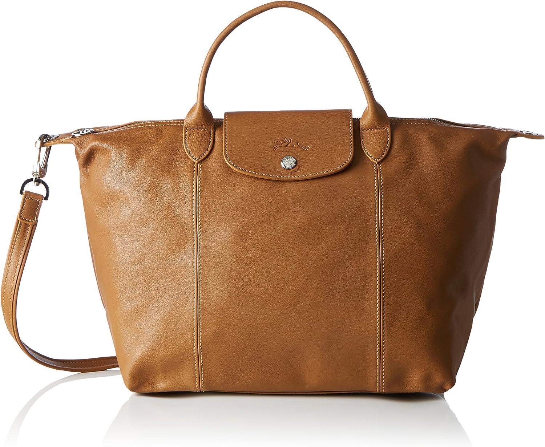 Longchamp Le Pliage Cuir, sac à main femme - marron - Braun ...