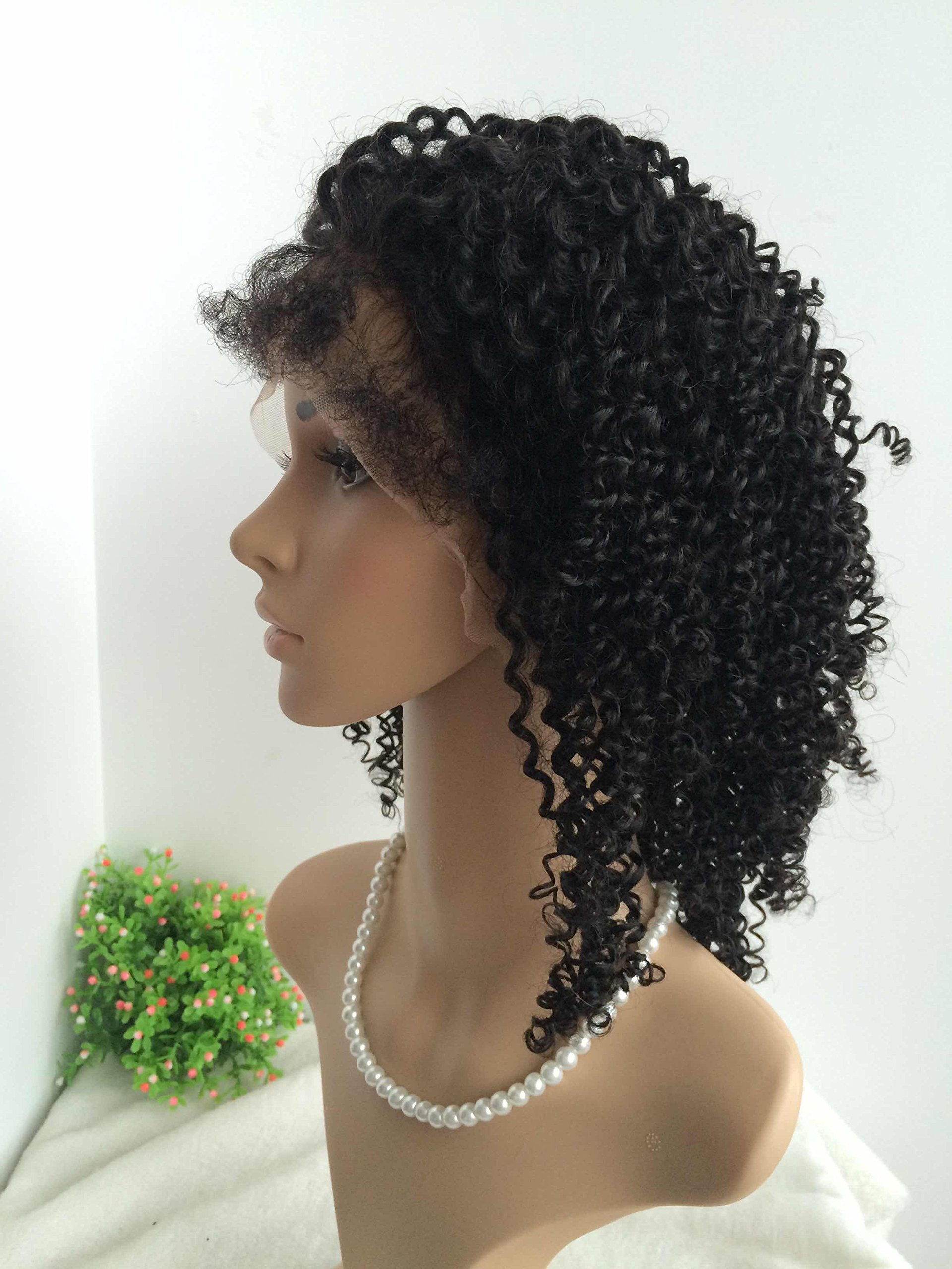 HOT ON SALE,CHINESE VIRGIN HUMAN HAIR,KINKY CURL,GLUELESS FULL LACE SILK TOP WIG-BW0040