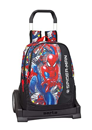 "Spiderman ""Super Hero"" Oficial Mochila Espalda Ergonómica Con Carro Safta Evolution"