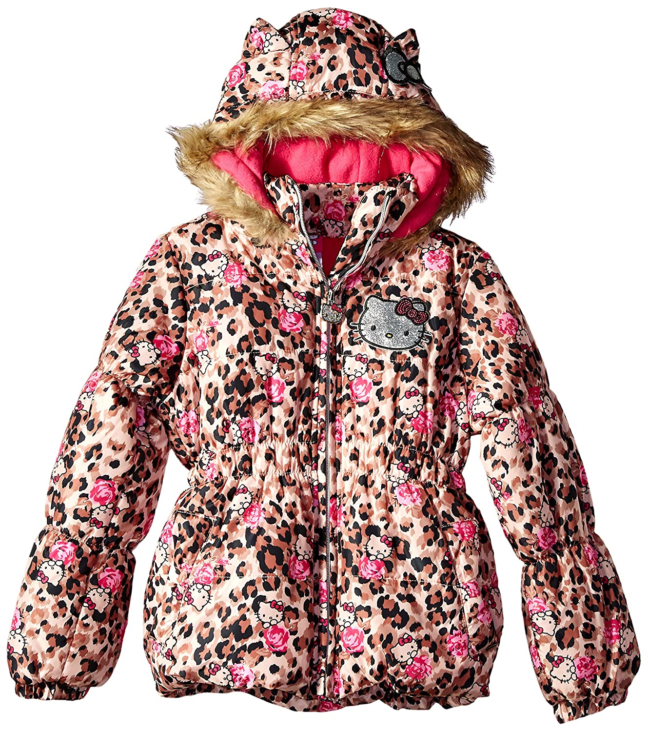 012b8bb4c Amazon.com: Hello Kitty Baby Girls All Over All Over Printed Puffer Jacket  with Fur Trim Hood: Clothing