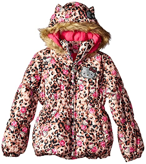 91268d014 Hello Kitty Girls' Toddler Printed Puffer Jacket with Fur Trim Hood,  Leopard 2T
