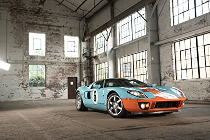 Ford Gt Heritage  Car Print On  Mil Archival Satin Paper Blue Front