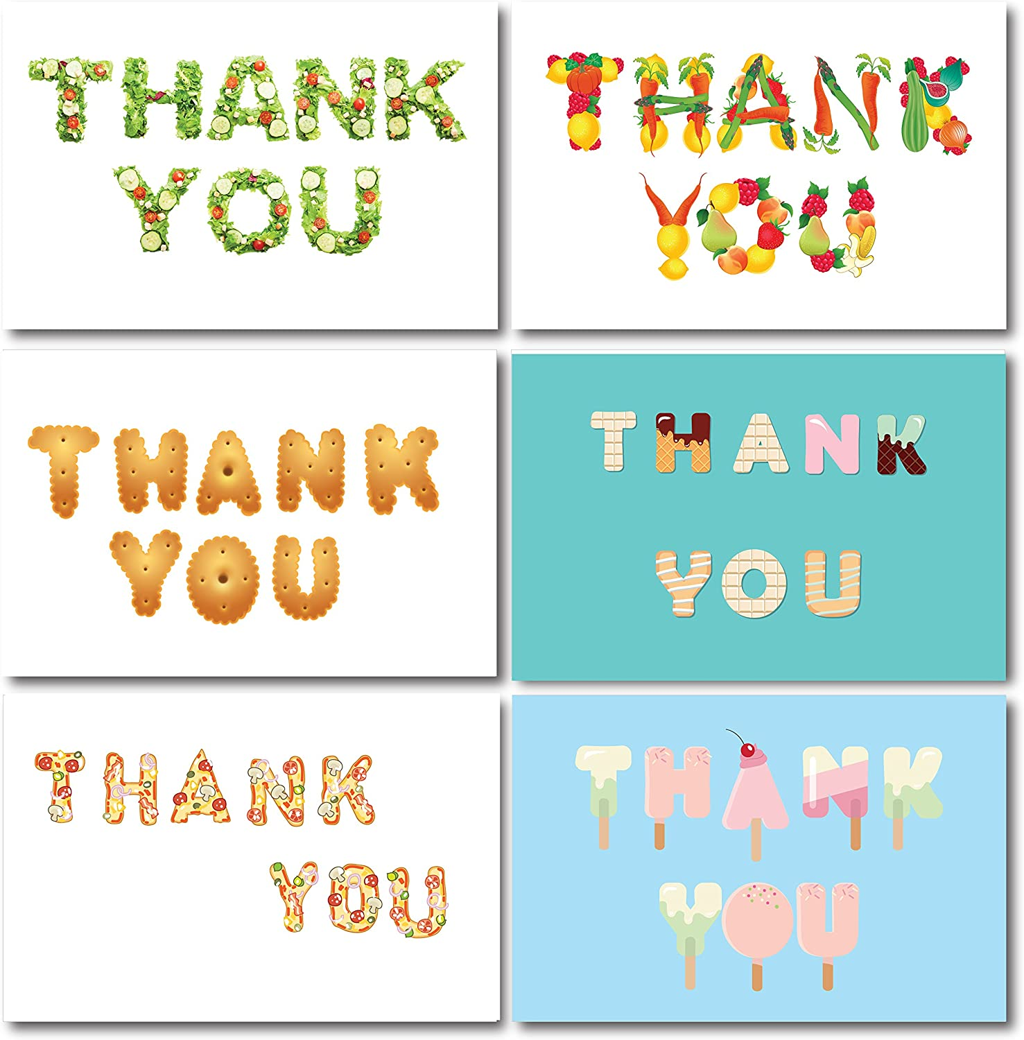 36 Food Funny Thank You Cards with Envelopes I Gift for Master Cooks Foodies Chef Dinner BBQ Birthday Parties I 4x6 inches I Dessert Candy Vegetable Salad Pizza Biscuits Cookies Ice Cream