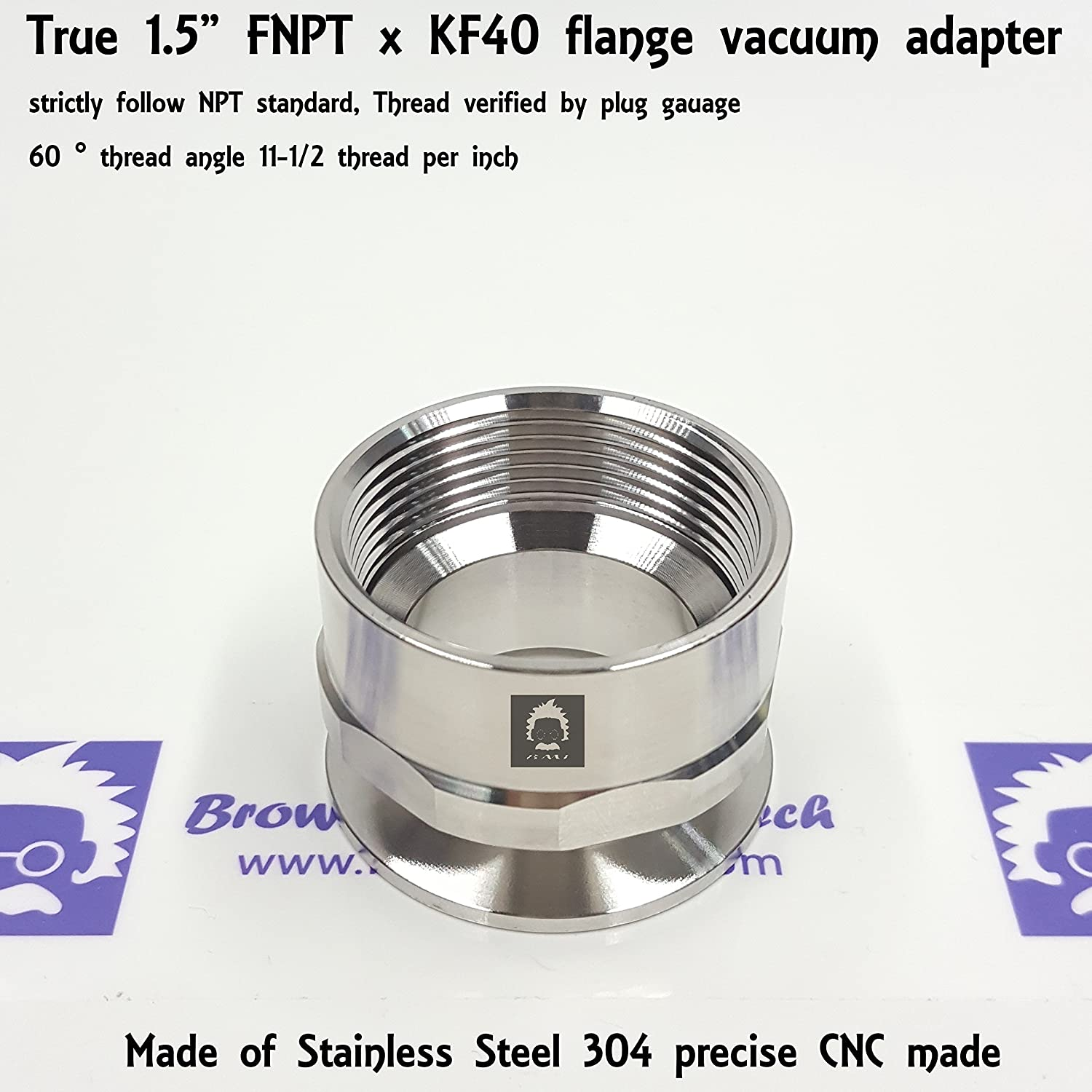 """_BMT_ True 1-1/2"""" or 1.5"""" FNPT X KF40 Flange vacuum adapter, made of SS304, strictly follow NPT standard, 11-1/2 threads per inch, 60° thread angle"""