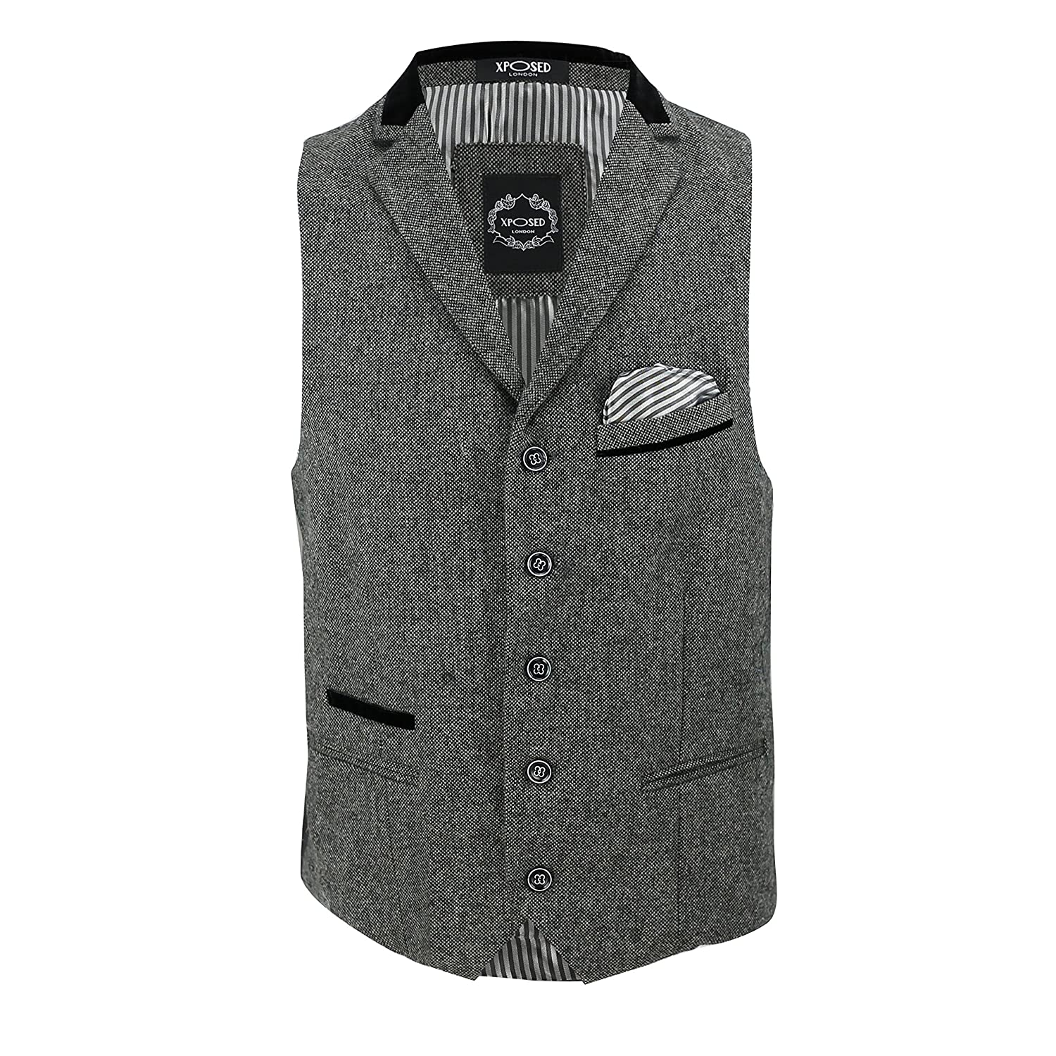Mens Brown Grey Fitted Formal Waistcoat Velvet Collar Herringbone Tweed Vintage Smart Casual Vest