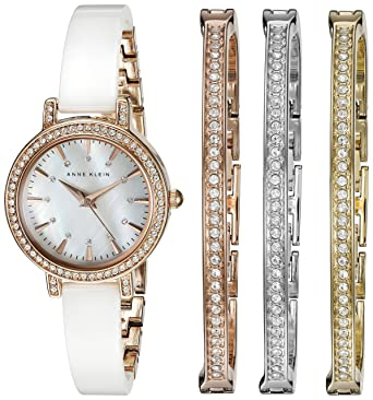 ae89dccc9 Amazon.com: Anne Klein Women's AK/2180WTST Swarovski Crystal Accented Rose  Gold-Tone and White Ceramic Bangle Watch and Bracelet Set: Watches