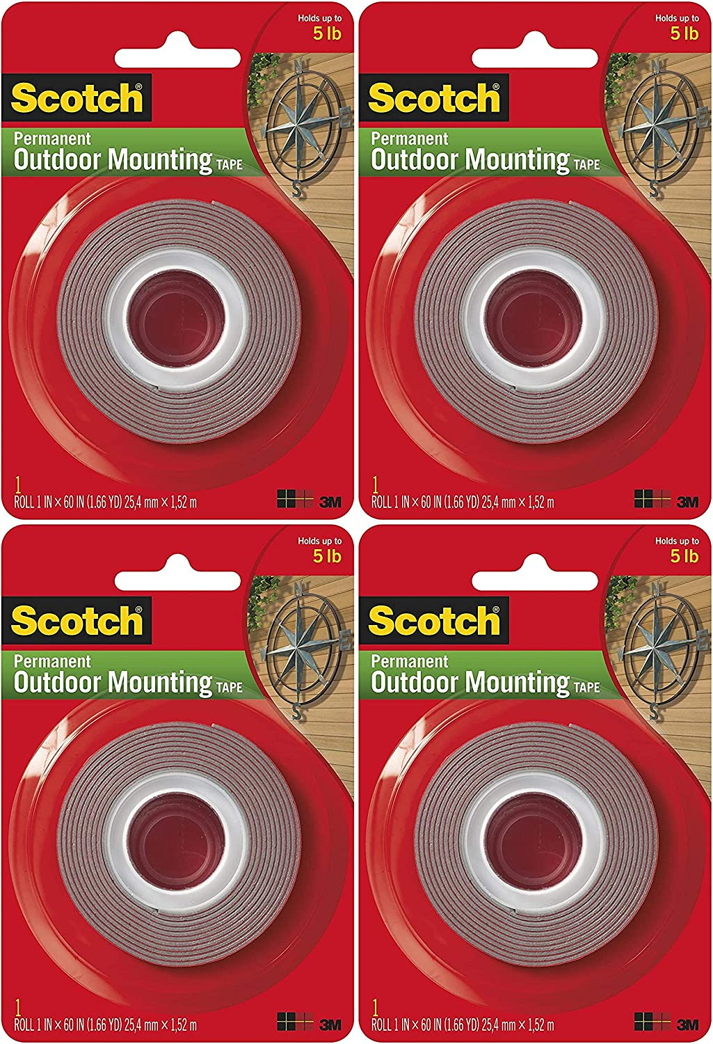 1 in Holds 5 lbs x 60 in Pack of 2 Scotch Permanent Outdoor Mounting Tape