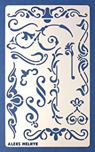 Aleks Melnyk #4 Metal Journal Stencil/Flowers and Vines, Ornament, Vintage, Finds Small Stencil Template for Painting on Wood, on Walls/Furniture Crafts