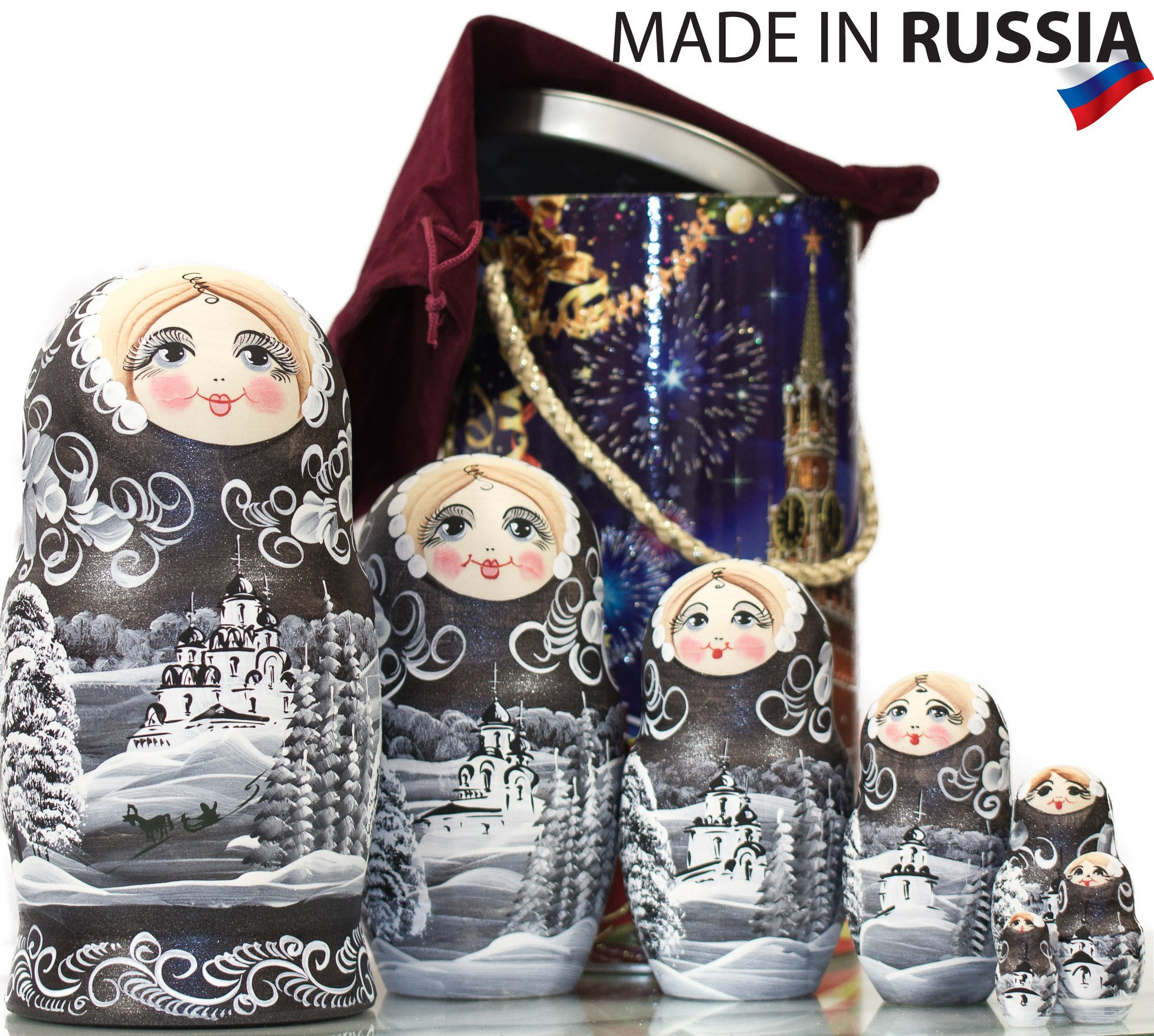 Russian Nesting Doll - ''Winter`s Tale'' - Hand Painted in Russia - MOSCOW KREMLIN GIFT BOX - Wooden Decoration Gift Doll - Traditional Matryoshka Babushka (8`` (7 dolls in 1), Silver Night) by craftsfromrussia