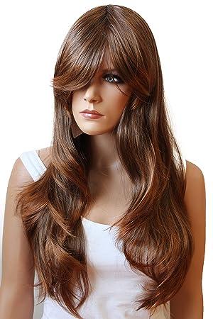 PRETTYSHOP Peluca de la peluca de pelo largo ondulado cosplaymarrón PHK14
