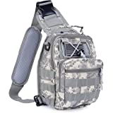 Boxuan warehouse Outdoor Tactical Shoulder Backpack(+flag patch), Military & Sport Bag Pack Daypack for Camping, Hiking, Trekking, Rover Sling,chest bag