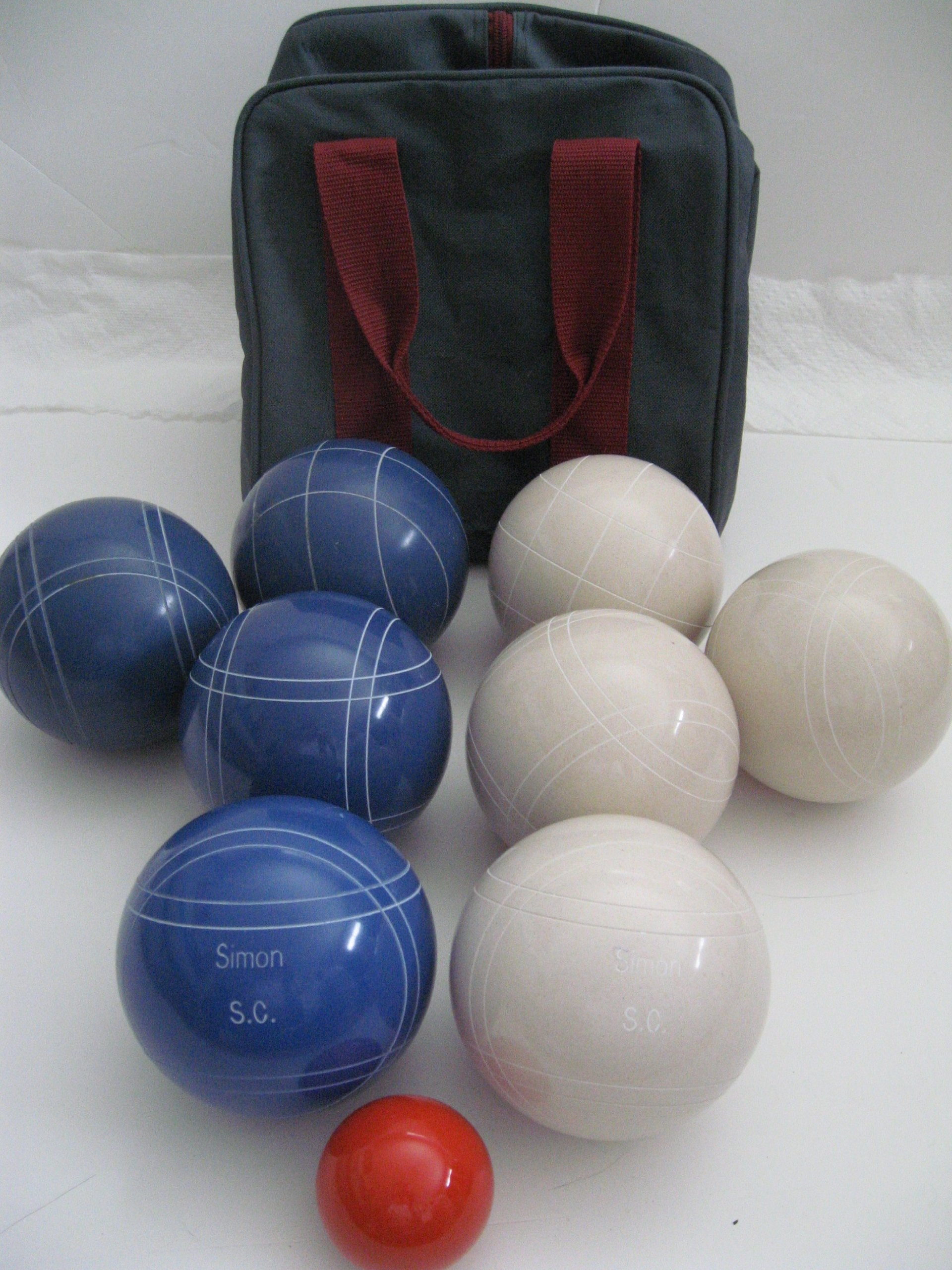 Premium Quality Engraved Bocce Package - 110mm Epco White and Blue Balls with Engraving [Misc.] by Epco