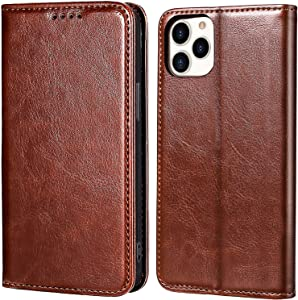 MInCYB Case Compatible with iPhone 12/iPhone 12 Pro, [RFID Blocking] Genuine Leather Wallet Case, Flip Leather Cover for iPhone 12/12 Pro - Black