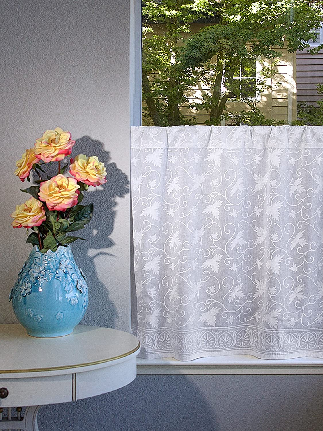 Strange Saffron Marigold Ivy Lace Handprint Cafe Kitchen Curtains Country Cottage Curtains Voile Sheer White Curtains 46 X 24 Home Remodeling Inspirations Genioncuboardxyz