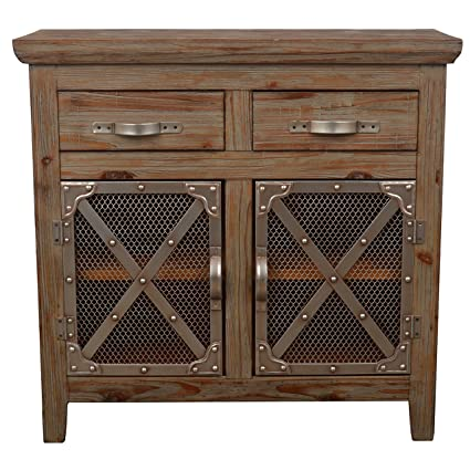 Beau Décor Therapy FR6353 Chicken Wire Cabinet, Distressed Brown