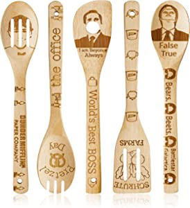 Eartim 5 Pcs Office TV Wooden Spoons Set Kitchen Cooking Utensils Natural Non-Stick Carve Burned Bamboo Cooking Spoon Slotted Spatulas Cookware Kitchen Gadgets House Warming Presents