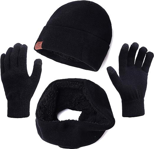 Men/'s Winter Fleece Beanie Skull Hat Scarf Gloves Ski Snow Gift Set Black Red M