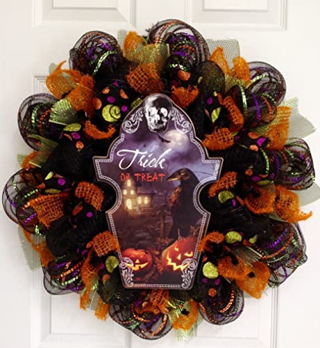 Spooky Trick or Treat Raven Halloween Wreath