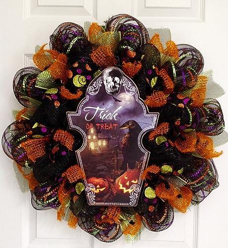 Spooky Trick or Treat Raven Halloween Wreath