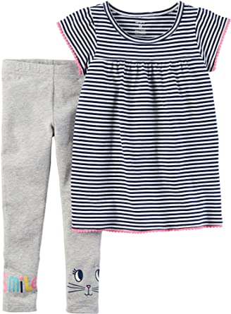 9dd345cc7275c Image Unavailable. Image not available for. Color: Carters Baby Girls Cat  Smile Leggings Set ...